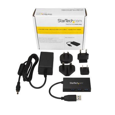 StarTech.com HB30A3A1CSFS interface hub USB 3.2 Gen 1 (3.1 Gen 1) Type-A 5000 Mbit/s Zwart