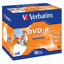 Verbatim DVD-R Wide Inkjet Printable ID Brand 4.7GB DVD-R