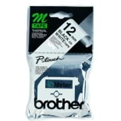 Brother Labelling Tape - 12mm, Black/White, Blister M