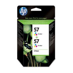 HP 57 originele drie-kleuren inktcartridges, 2-pack