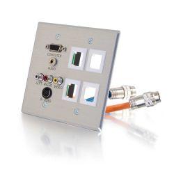 C2G 60104 tussenstuk voor kabels 2xRapidRun 15p HD15, 3.5mm, S-Video, 3xRCA Aluminium