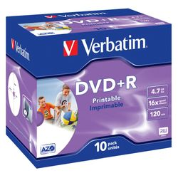 Verbatim DVD+R Wide Inkjet Printable ID Brand 4.7GB DVD+R
