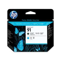 HP 91 matzwarte en cyaan printkop