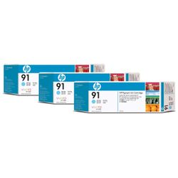 HP 91 licht-cyaan pigmentinktcartridges, 775 ml, 3-pack
