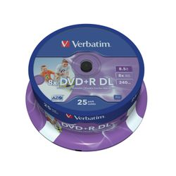 Verbatim DVD+R Double Layer Inkjet Printable 8x 8.5GB DVD+R