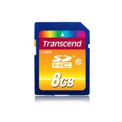 Transcend . Capaciteit: 8 GB, Soort flashgeheugen: SDHC, Flash memory klasse: Class 10. Houdbaarheid: 10000 cycli per logische s