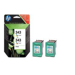 HP 343 2-pack Tri-color Inkjet Print Cartridges Cyaan