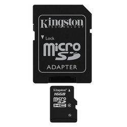 Kingston Kingston Technology 16Gb microSDHC, 16 GB, MicroSDHC, Klasse 4, 4 MB/s, Flash, Zwart