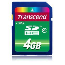 Transcend . Capaciteit: 4 GB, Soort flashgeheugen: SDHC. Houdbaarheid: 10000 cycli per logische sector. Kleur van het product: Z