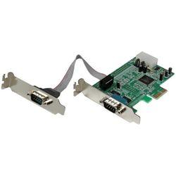 StarTech.com 2-poort Low Profile Native RS232 PCI Express Seriële Kaart met 16550 UART interfacekaart/-adapter