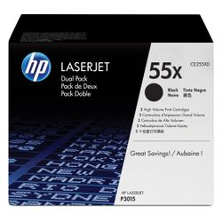 HP 55X originele high-capacity zwarte LaserJet tonercartridge, 2-pack
