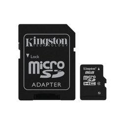 Kingston , 8GB microSDHC Class 4 Flash Card met SD-Adapter