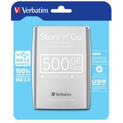 Verbatim Store 'n' Go externe harde schijf 500 GB Zilver