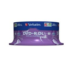 Verbatim DVD+R Double Layer 8x Matt Silver 25pk Spindle