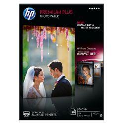 HP Premium Plus glanzend fotopapier, 50 vel, A4/210 x 297 mm pak fotopapier