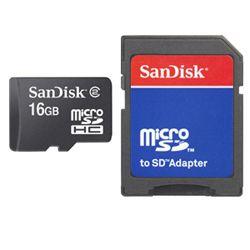 Sandisk microSD Card 16GB + Adapter 16GB MicroSD