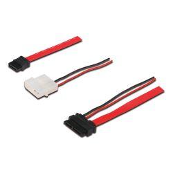 ASSMANN Electronic AK-400114-005-R SATA-kabel 0,5 m Zwart, Rood, Wit SATA 13-pin SATA 22-pin + Molex (4-pin)