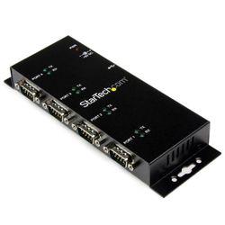 StarTech.com 4-poort USB naar DB9 RS232 Seriële Adapter Hub Industrieel DIN-rail en Wandmontage hub & concentrator