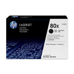 HP 80X originele high-capacity zwarte LaserJet tonercartridge, 2-pack
