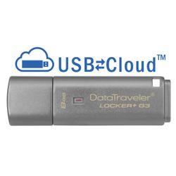 Kingston Technology DataTraveler Locker+ G3 8GB 8GB USB 3.0 (3.1 Gen 1) USB-Type-A-aansluiting Zilver USB flash drive