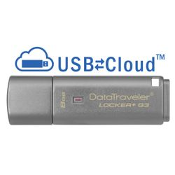 Kingston Technology DataTraveler Locker+ G3 8GB 8GB USB 3.0 (3.1 Gen 1) USB-Type-A-aansluiting Zilver USB flash drive