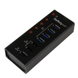 StarTech.com 4-poorts gevoede USB 3.0 hub met 3 speciale USB-laadpoorten (2 x 1 A & 1 x 2 A) op de wand monteerbare metalen behu