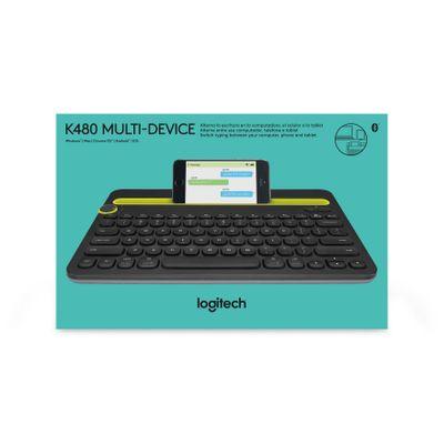 Logitech K480 toetsenbord voor mobiel apparaat QWERTY US International Zwart, Geel Bluetooth