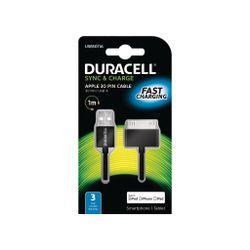 Duracell USB5011A 1m USB 30 Pin Zwart mobiele telefoonkabel