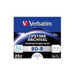 Verbatim 1x5 Verbatim M-Disc BD-R Blu-Ray 25GB 4x Speed, Jewel Case print. (43823)