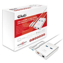 CLUB3D Club3D Adapter USB 3.0 Type A > HDMI met 2x USB 3.0 und RJ45 retail (CSV-2600)