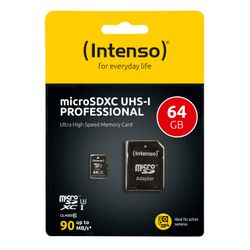 Intenso Professional 64 GB microSDXC-kaart Class 10, UHS-I incl. SD-adapter