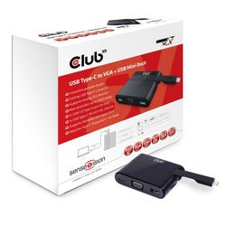 CLUB3D USB Type C to VGA + USB 3.0 + USB Type C Charging Mini Dock