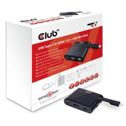 CLUB3D USB Type-C to HDMI™ 2.0 + USB 2.0 + USB Type-C Charging Mini Dock